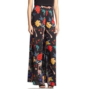 Alice + Olivia floral wide leg pants exposed zip 2